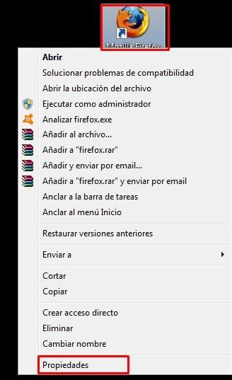 Entra a las propiedades de Firefox