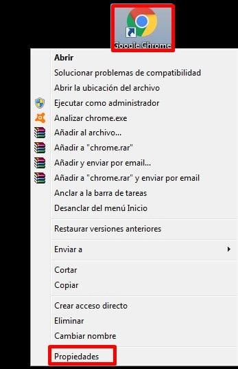 Entra a las propiedades de Google Chrome