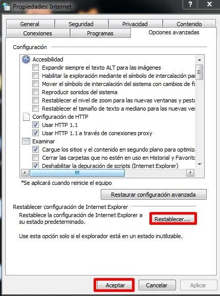 Restablece internet explorer