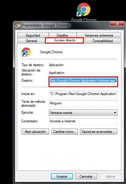 en acceso directo cambia la URL