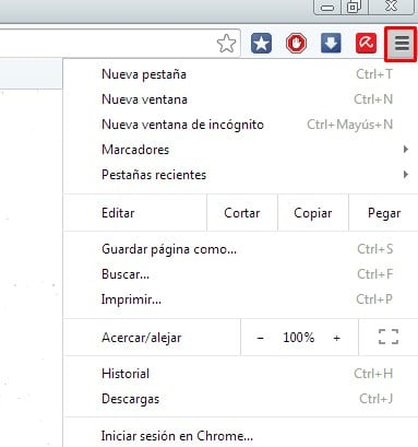 clica en el menu de Google chrome