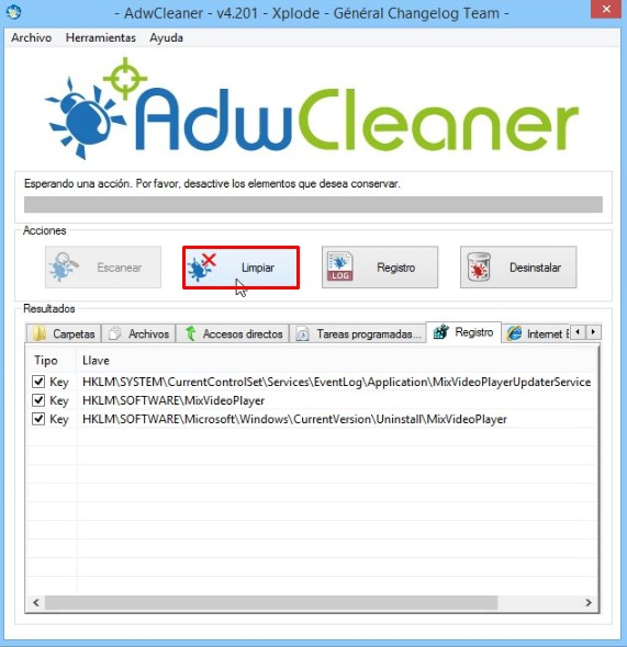 Clic en limpiar