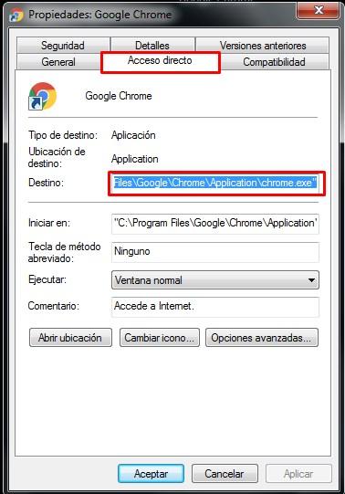 Modifica el link del navegador